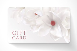 Gift card with beautiful realistic magnolia white flower isolated on clean background. Template useful for wedding design, women shopping card, 8 March