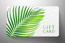 Gift card with beautiful realistic palm branch isolated on white background. Template useful for wedding design, women shopping card