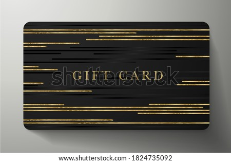 Gift card with gold horizontal glitch lines on black background. Dark template useful for any invitation design, shopping card (loyalty card), voucher or gift coupon