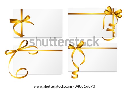 Gift Card with Gold Ribbon and Bow Set. Vector illustration EPS10