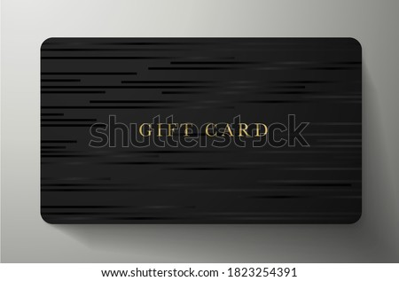 Gift card with horizontal lines on back background. Formal dark template useful for any invitation design, shopping card (loyalty card), voucher or gift coupon Photo stock ©