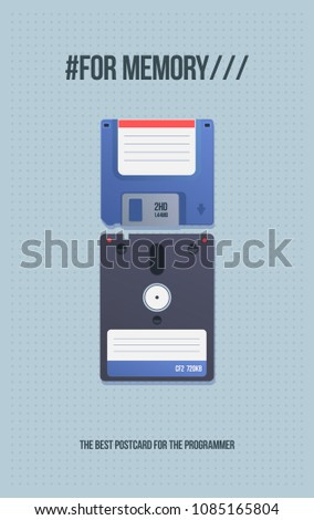 Gift card with old media. Floppy disk and diskette. Computer Computer media in cartoon style.