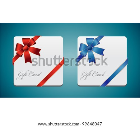 Gift card with red and blue ribbon. Vector background