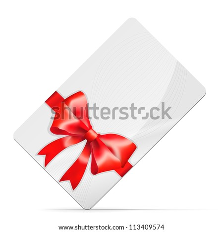 Gift card with red bow Isolated on white. Vector illustration