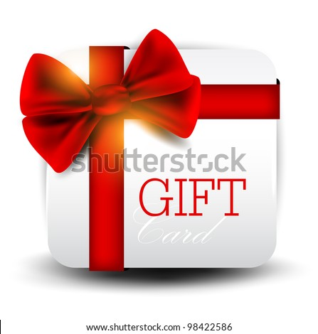 Gift card with red ribbon. Vector background