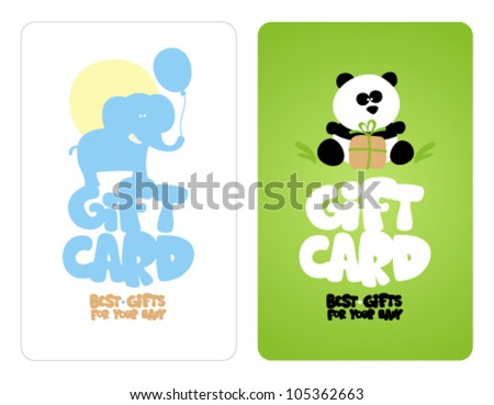 Gift cards for baby with cute animals.