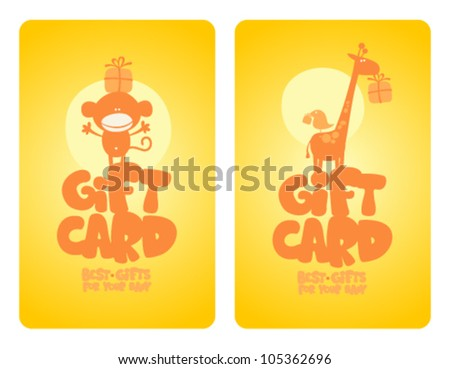 Gift cards for baby with cute animals. - stock vector