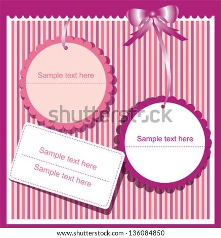 Gift cards on striped  violet background