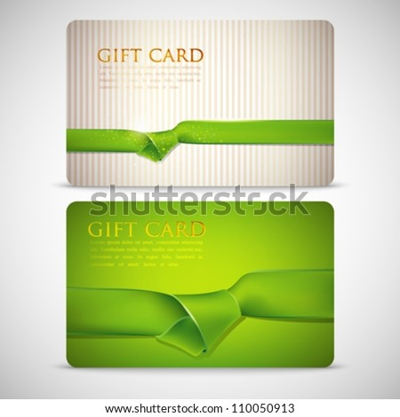 gift cards with green ribbons