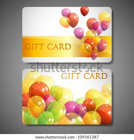 gift cards with multicolored balloons