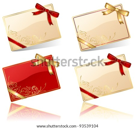 Gift cards with red and golden bow, illustration