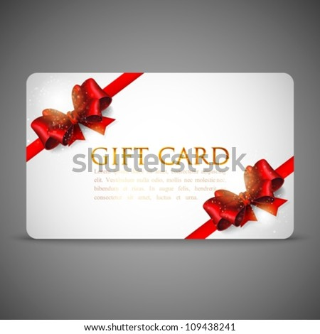 gift cards with red bows and ribbons - stock vector