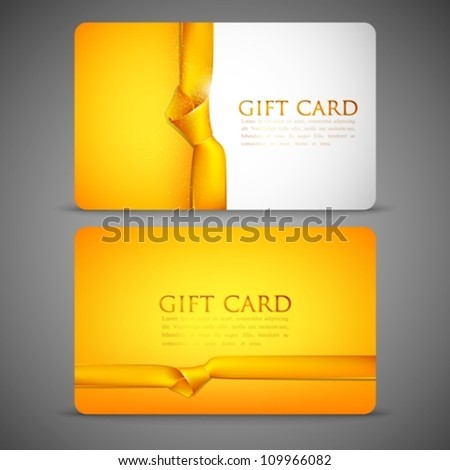 gift cards with yellow ribbons - stock vector