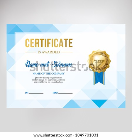 Gift certificate, diploma, template background, modern geometric design