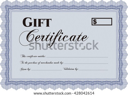 Gift certificate. Easy to print. Detailed. Cordial design.