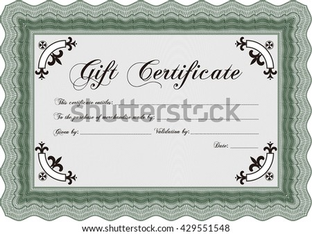 Gift certificate. Easy to print. Nice design. Detailed.