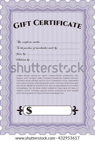 Gift certificate. Nice design. Detailed. Easy to print.