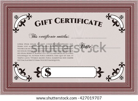 Gift certificate. Nice design. Easy to print. Detailed.