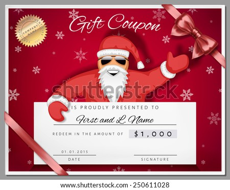 Gift Certificate Template As Coupon With Santa Claus Over Red – Santa Claus Certificate Template
