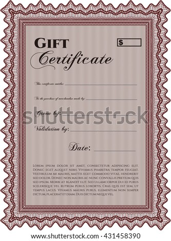 Gift certificate template. Border, frame. Superior design. With quality background.
