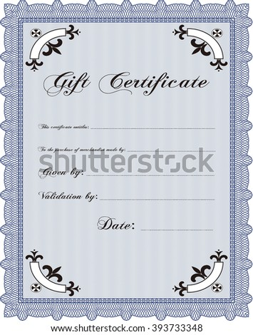 Gift certificate template. Border, frame. With quality background. Superior design.