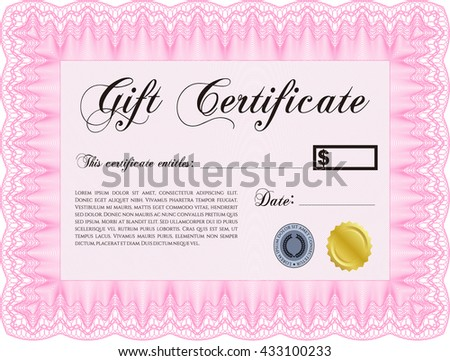 Gift certificate template. Complex design. Printer friendly. Detailed.