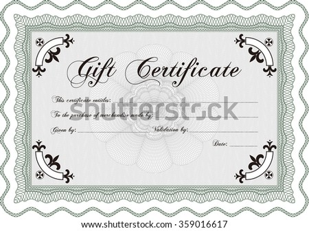 Gift certificate template. Customizable, Easy to edit and change colors.With great quality guilloche pattern. Excellent complex design.