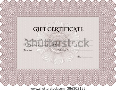 Gift certificate template. Detailed. Complex design. Printer friendly.