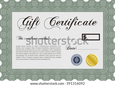 Gift certificate template. Detailed. Nice design. Printer friendly.