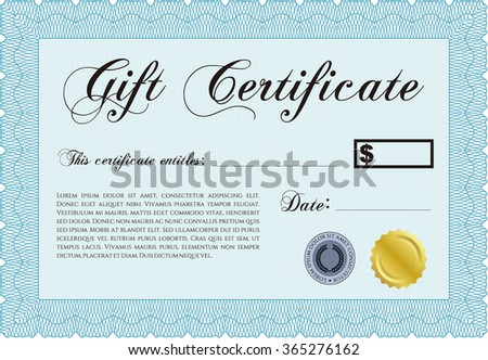 Gift certificate template. Lovely design. With background. Detailed.