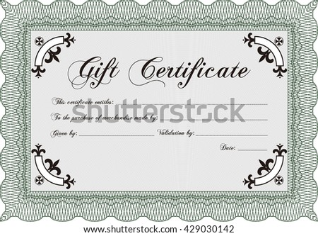 Gift certificate template. Printer friendly. Detailed. Complex design.