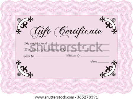 Gift certificate template. Sophisticated design. Detailed.With guilloche pattern and background.
