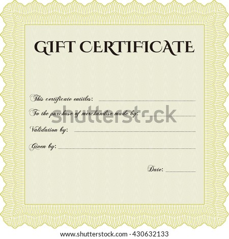 Gift certificate template. Superior design. With quality background. Border, frame.