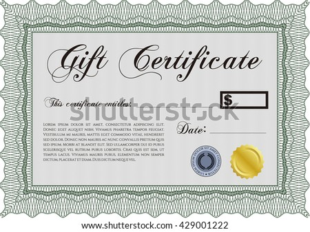 Gift certificate template. With linear background. Beauty design. Border, frame.