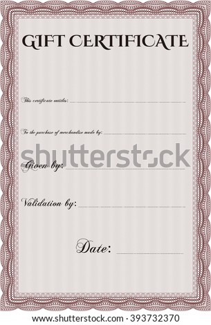 Gift certificate template. With linear background. Border, frame. Beauty design.