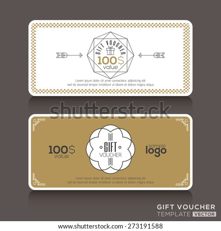 Gift certificate voucher coupon template with line art hipster design
