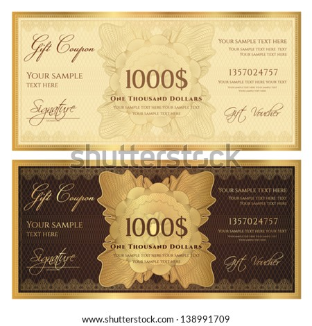 Gift certificate / Voucher template with guilloche pattern (watermarks) and border. Background usable for coupon, banknote, money design, currency, note, check etc. Vector in golden and brown colors