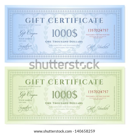 ... Money Gift Certificate Template By Gift Certificate Voucher Template  With Guilloche Pattern ...