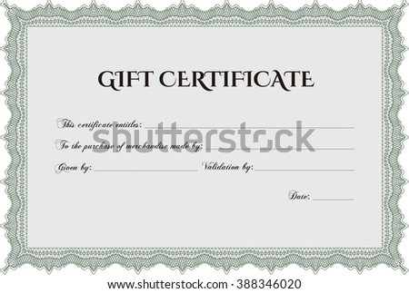 Gift certificate. With background. Cordial design. Detailed.