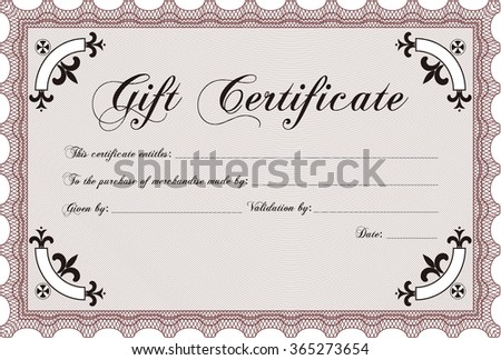 Gift certificate. With guilloche pattern. Border, frame.Nice design.