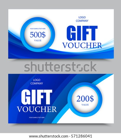Gift company voucher template on five and two hundred dollars with circles and bright blue wavy curved lines pattern. Vector illustration