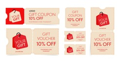 Gift coupon and voucher with promo code on discount set. Vintage tear-off shopping ticket, gift card with sale special offer to buy or purchase vector illustration isolated on white background