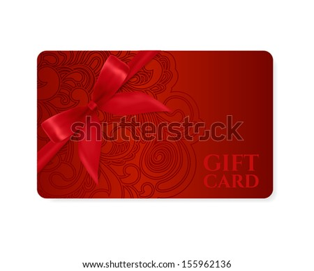 Gift coupon, gift card (discount card, business card) with floral (scroll, swirl) dark red swirl pattern (tracery). Holiday background design for Valentine\'s Day, voucher, invitation, ticket. Vector