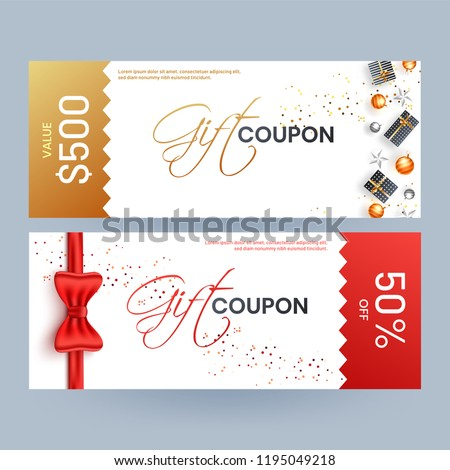 Gift coupon template layout with best discount offers, gift boxes and glossy red ribbon on white background.