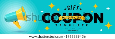 Gift coupon template with up to 50 percent off limited time. Voucher layout with special sale offer for customer. Realistic megaphone loudspeaker and promotion text design vector illustration
