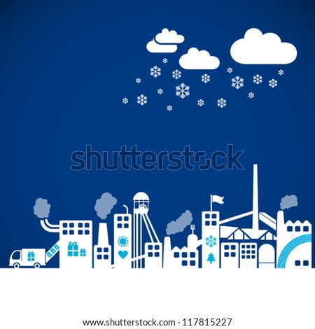 gift factory - creative christmas illustration on blue background, winter atmosphere, xmas industry,