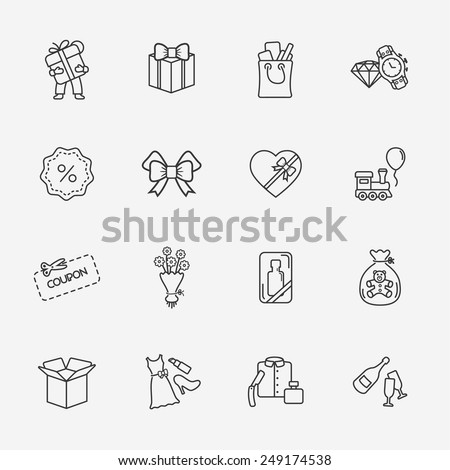 gift flat contour shop icon set