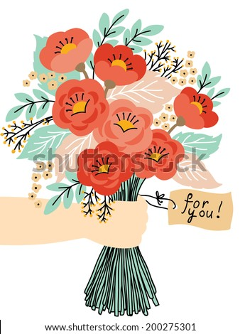 Gift for you! Beautiful flower bouquet. Wedding invitation or greeting card