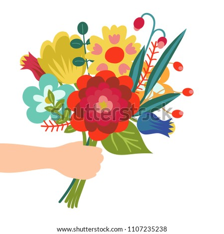 Gift for you. Flower bouquet in hand illustration in flat style. Isolated on white background. ストックフォト ©