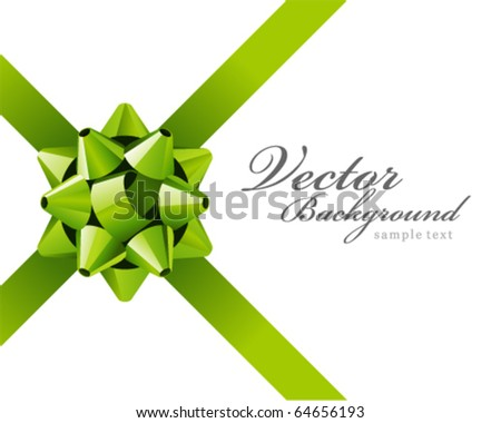 Gift green bow vector background